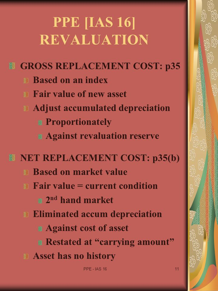 PPE [IAS 16] REVALUATION GROSS REPLACEMENT COST: p35 Based on an index